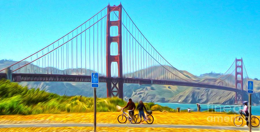 San Francisco Painting - San Francisco - Golden Gate Bridge - 13 by Gregory Dyer