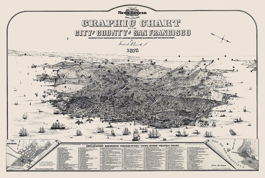 San Francsico Photograph - San Francisco Graphic Map 1875 by Daniel Hagerman