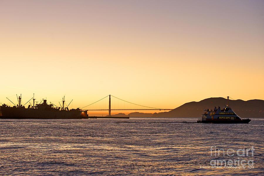 San Francisco Harbor At Pier 39 Photograph - San Francisco Harbor Golden Gate Bridge At Sunset by Artist and Photographer Laura Wrede
