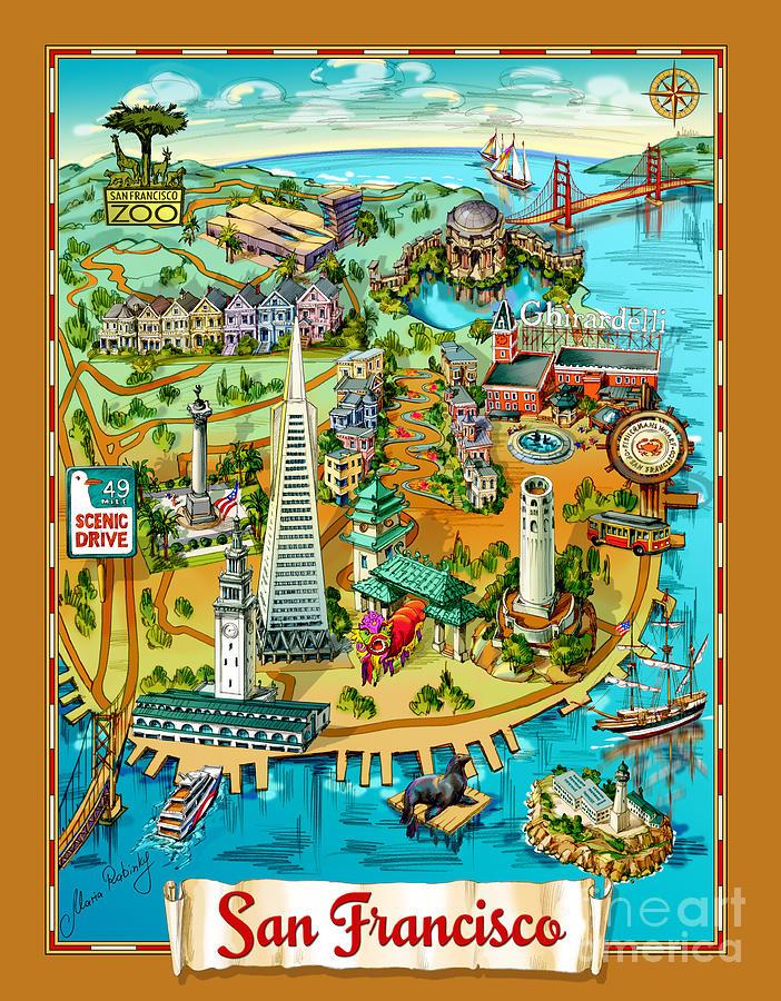 San Francisco Painting - San Francisco Illustrated Map by Maria Rabinky