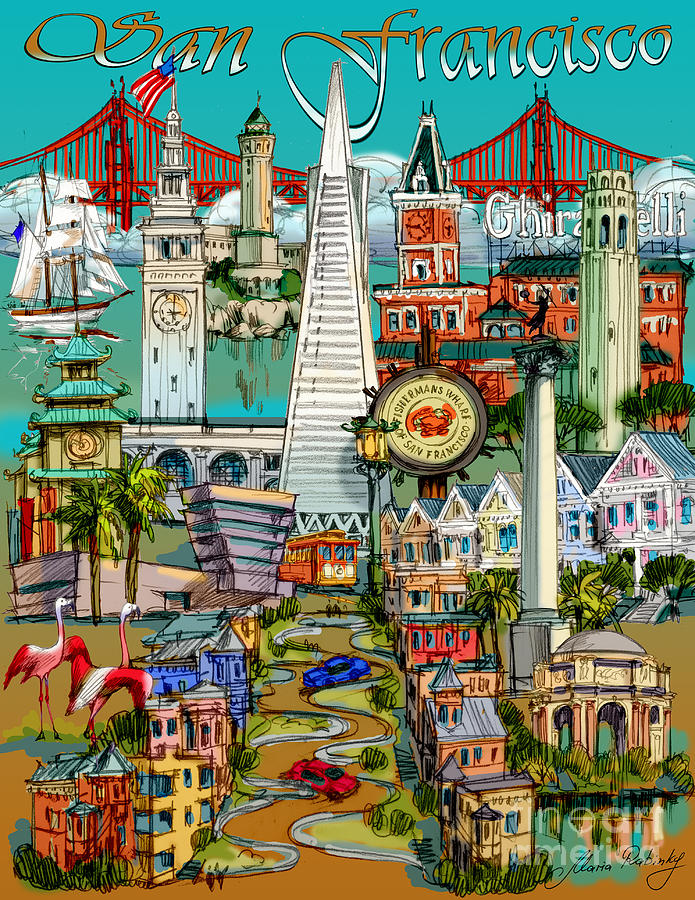 San Francisco Painting - San Francisco Illustration by Maria Rabinky