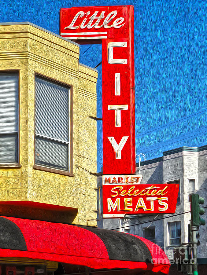 San Francisco Painting - San Francisco - Little City Meats by Gregory Dyer