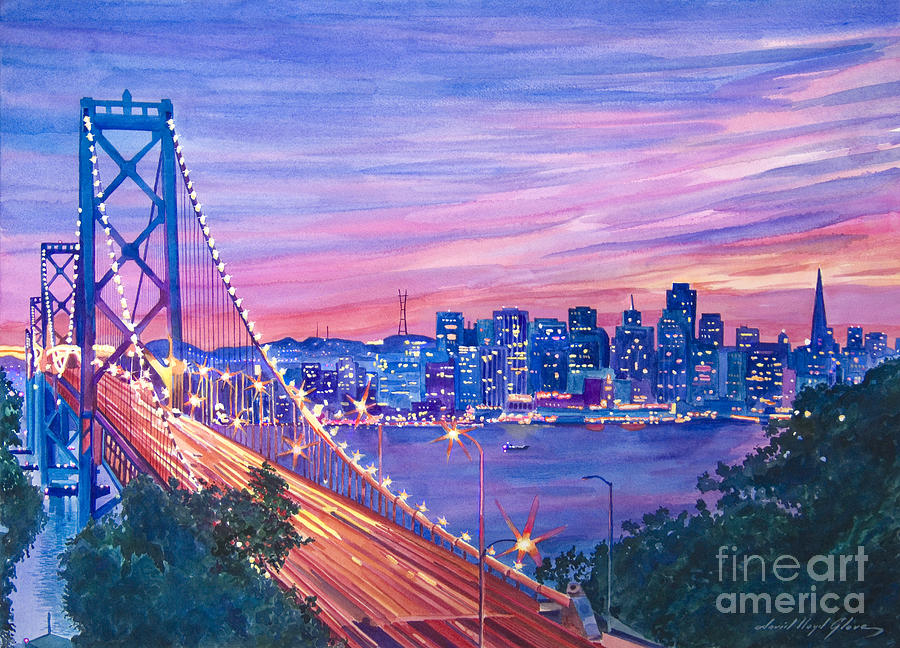 Bridges Painting - San Francisco Nights by David Lloyd Glover