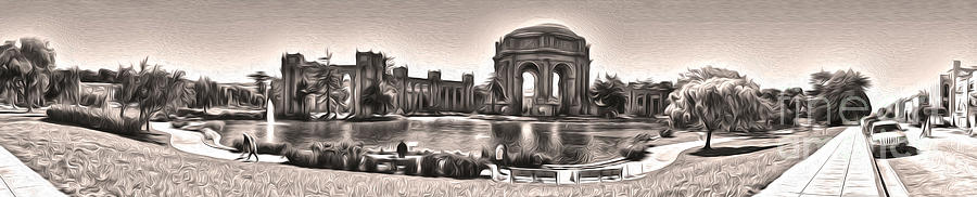 Black And White Photography Painting - San Francisco - Palace Of Fine Arts - 03 by Gregory Dyer