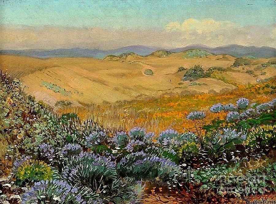 Landscape Painting - San Francisco Sand Dunes And Wildflowers by Roberto Prusso