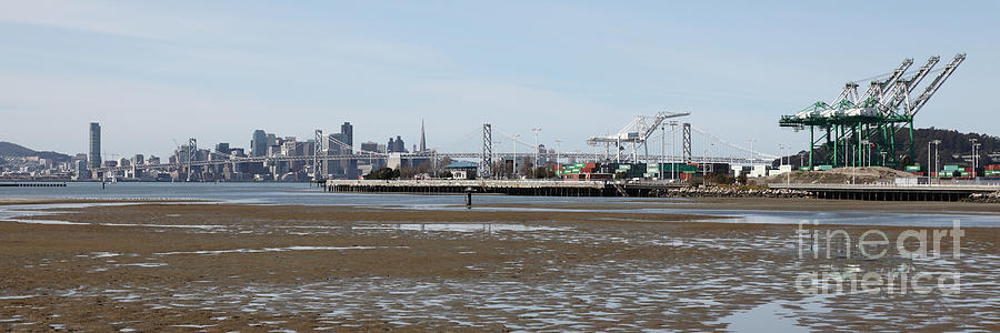 San Francisco Photograph - San Francisco Skyline And The Bay Bridge Through The Port Of Oakland 5d22238 by Wingsdomain Art and Photography