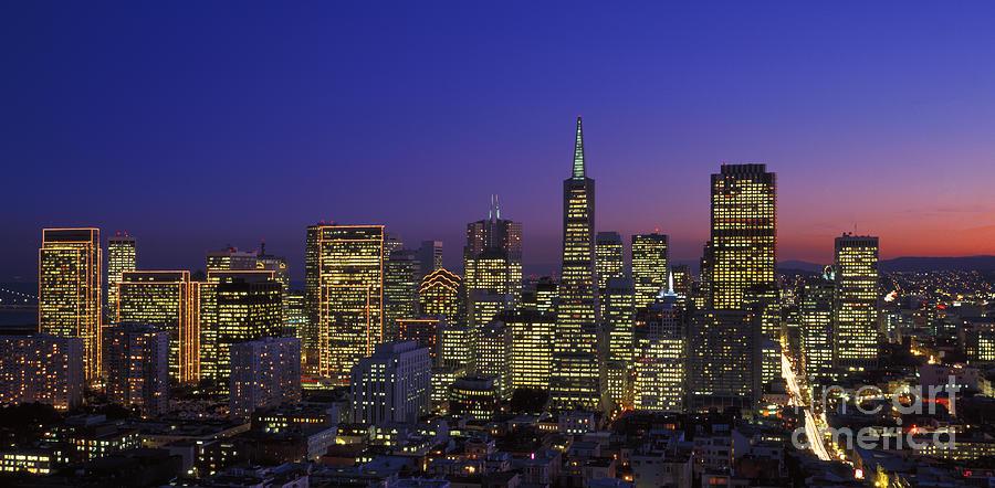 San Francisco Skyline At Night Photograph By Historic Vantage