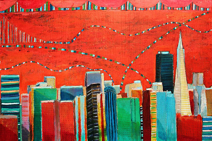 Skyline Painting - San Francisco skyline by Habib Ayat