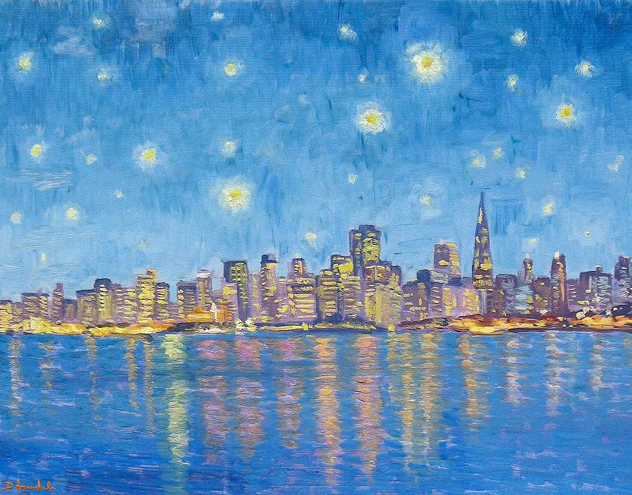 Van Gogh Painting - San Francisco Starry Night by Dominique Amendola