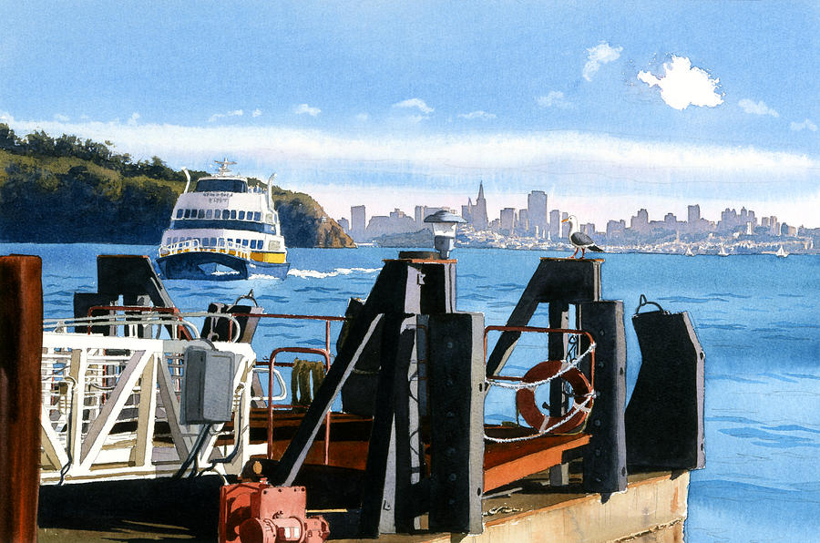 San Francisco Painting - San Francisco Tiburon Ferry by Mary Helmreich