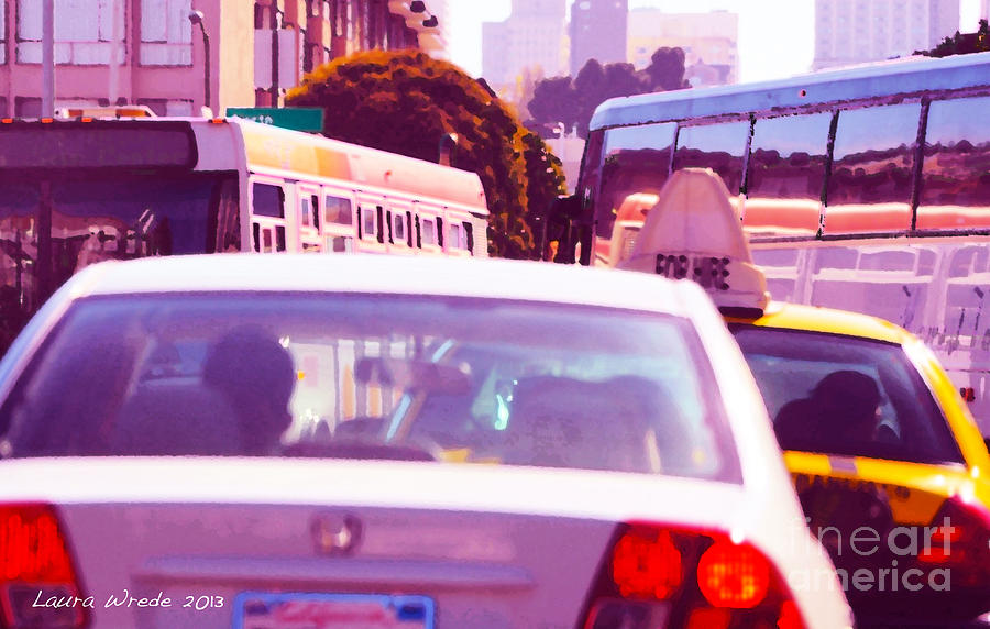 Fuchsia Painting - San Francisco Traffic Jam by Artist and Photographer Laura Wrede