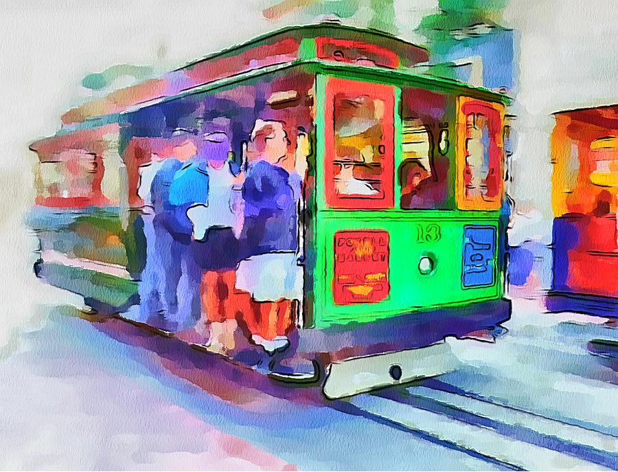 San Digital Art - San Francisco Trams 3 by Yury Malkov