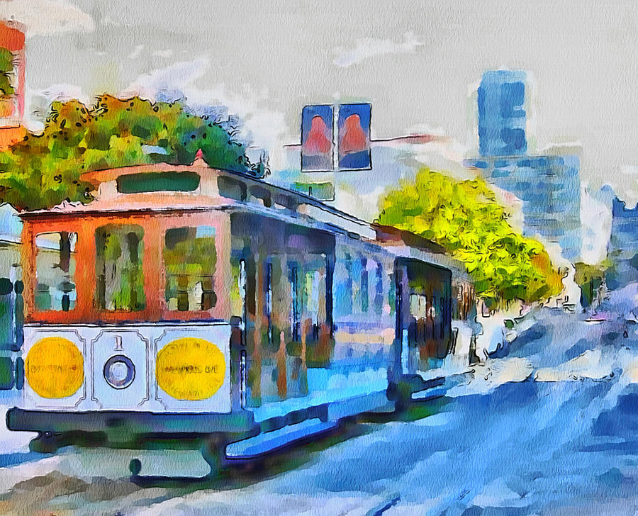 San Digital Art - San Francisco Trams 4 by Yury Malkov