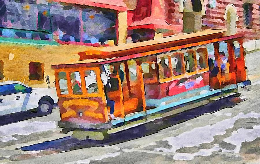 San Digital Art - San Francisco Trams 5 by Yury Malkov