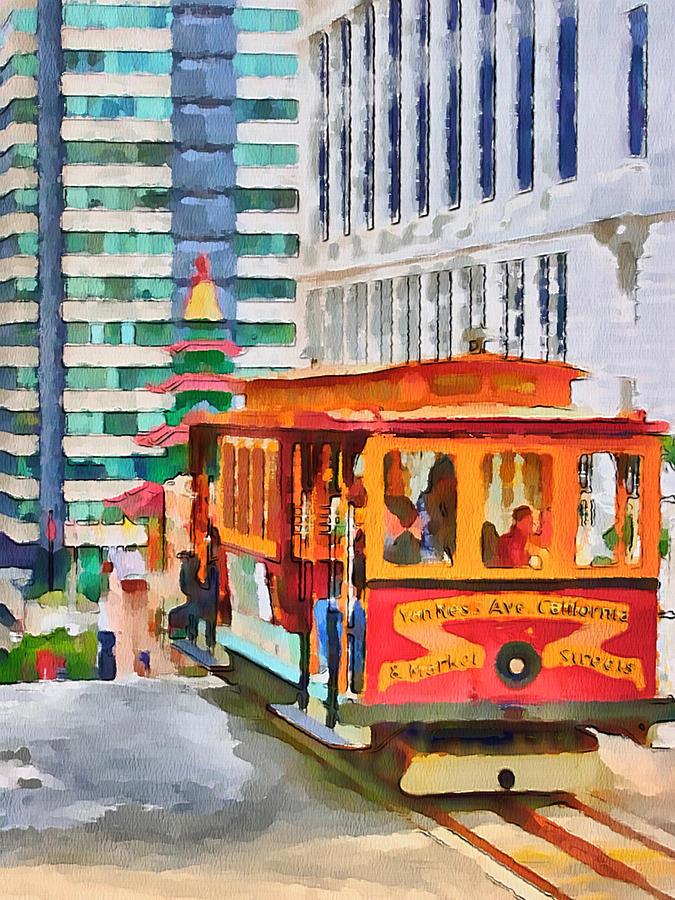 San Digital Art - San Francisco Trams 6 by Yury Malkov