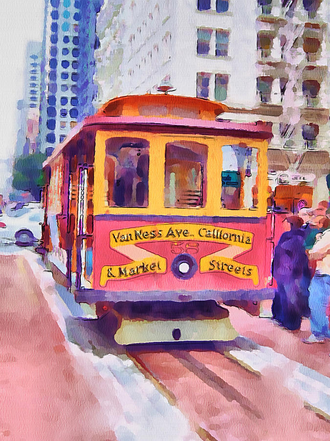 San Digital Art - San Francisco Trams 7 by Yury Malkov