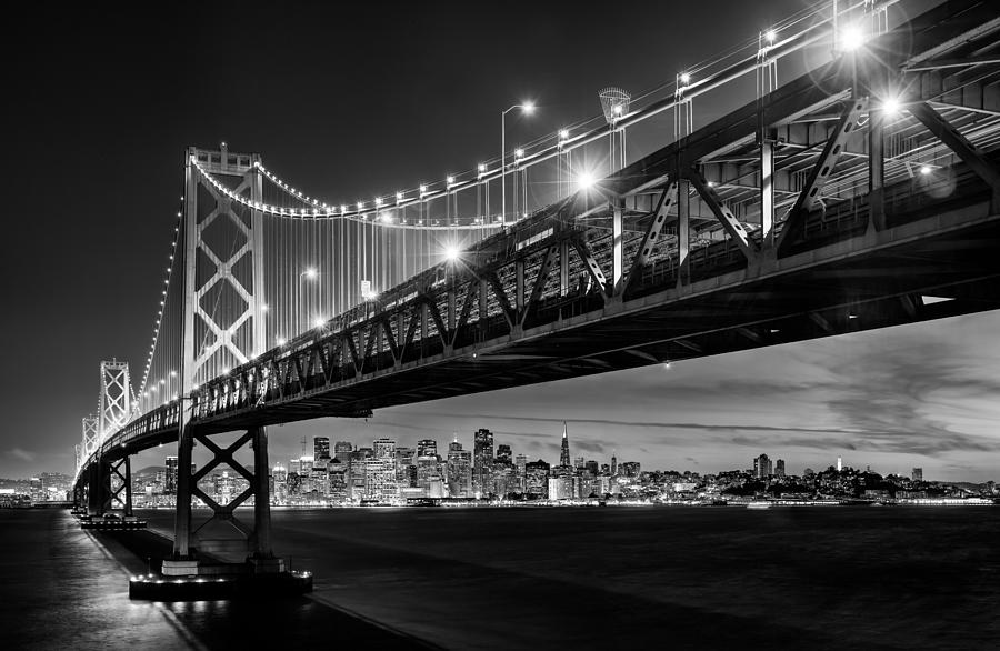 San Francisco Photograph - San Francisco - Under The Bay Bridge - Black And White by Alexis Birkill