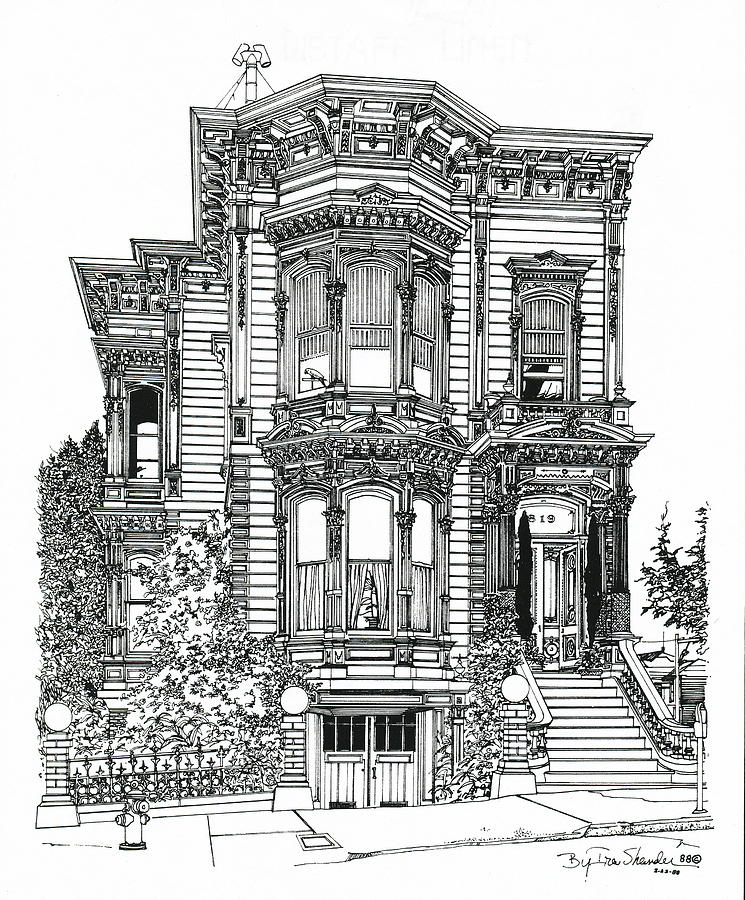 San Francisco Victorian Drawing By Ira Shander