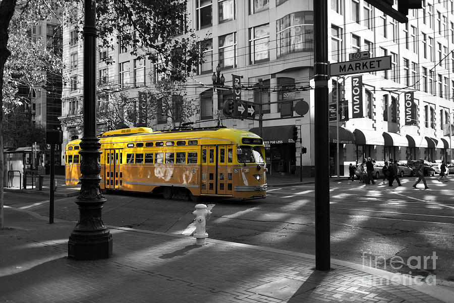 San Francisco Photograph - San Francisco Vintage Streetcar On Market Street - 5d19798 - Black And White And Yellow by Wingsdomain Art and Photography