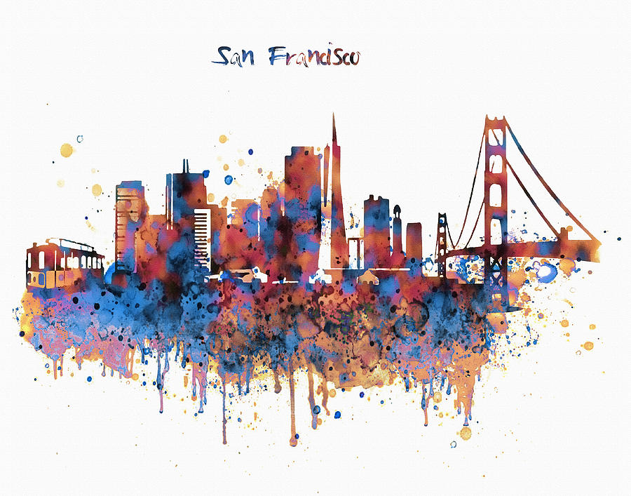 San Francisco Watercolor Skyline Mixed Media By Marian Voicu