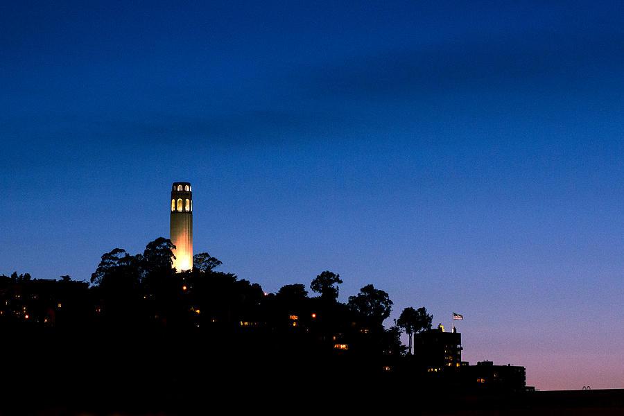 San Francisco Photograph - San Franciscos Coit Tower At Night by SFPhotoStore