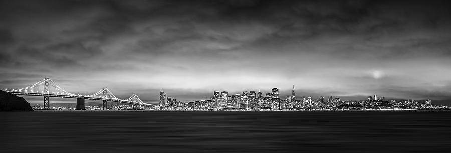 San Fransisco Photograph - San Fransisco Cityscape Black And White Panorama by Brad Scott