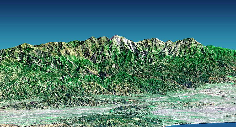 Pacific Ocean Photograph - San Gabriel Mountains by Nasa/science Photo Library