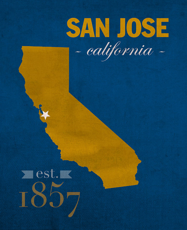 San Jose State University California Spartans College Town State - Us college map poster