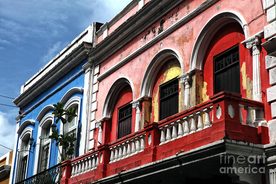 Red Photograph - San Juan Balcony by John Rizzuto