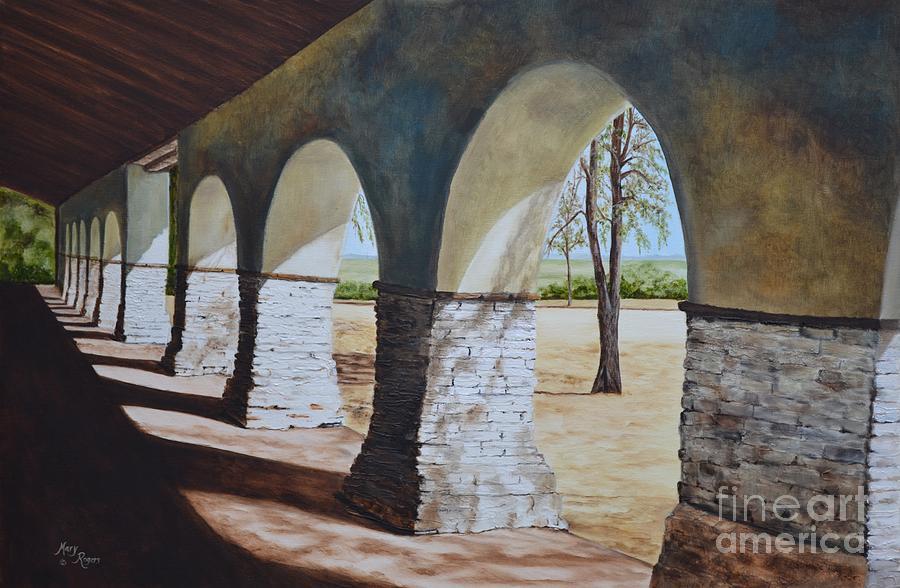 California Landmark Painting - San Juan Bautista Mission by Mary Rogers