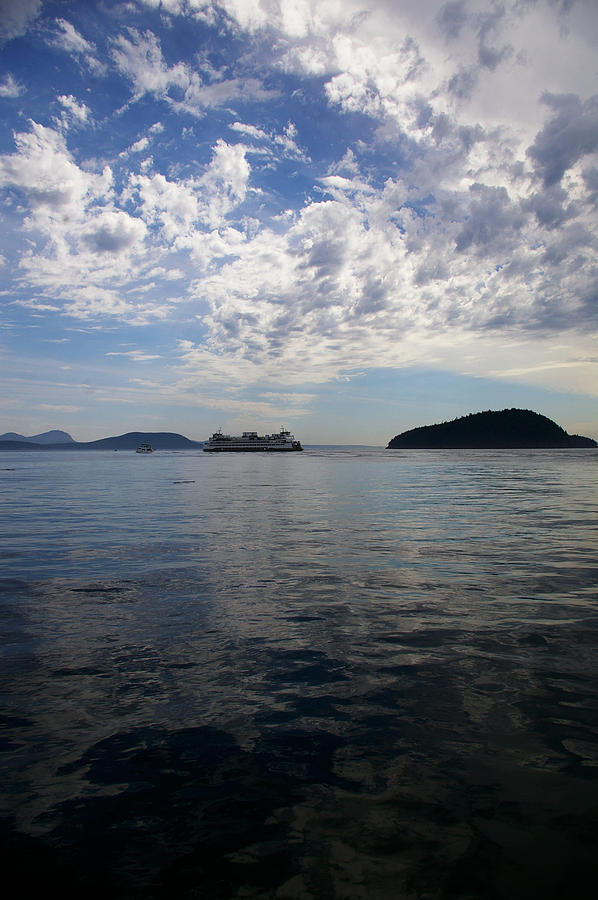 Skies Photograph - San Juan Island Ferry With Changing Skies by Christine Burdine
