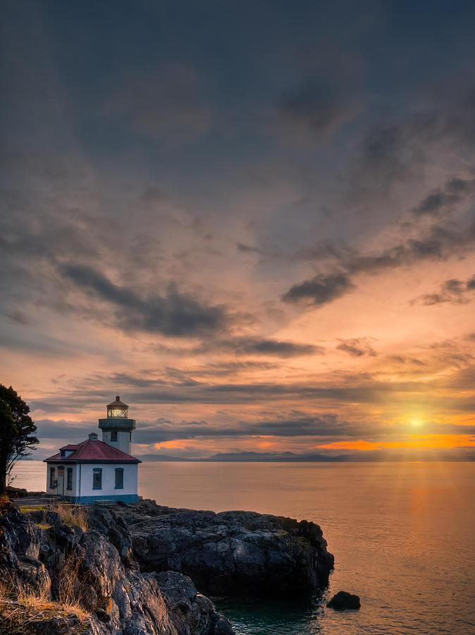 Lime Kiln Lighthouse Photograph - San Juan Sunset by Dan Mihai