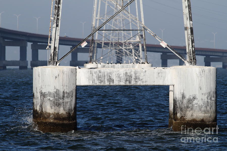San Mateo Photograph - San Mateo Bridge In The California Bay Area 7d21943 by Wingsdomain Art and Photography