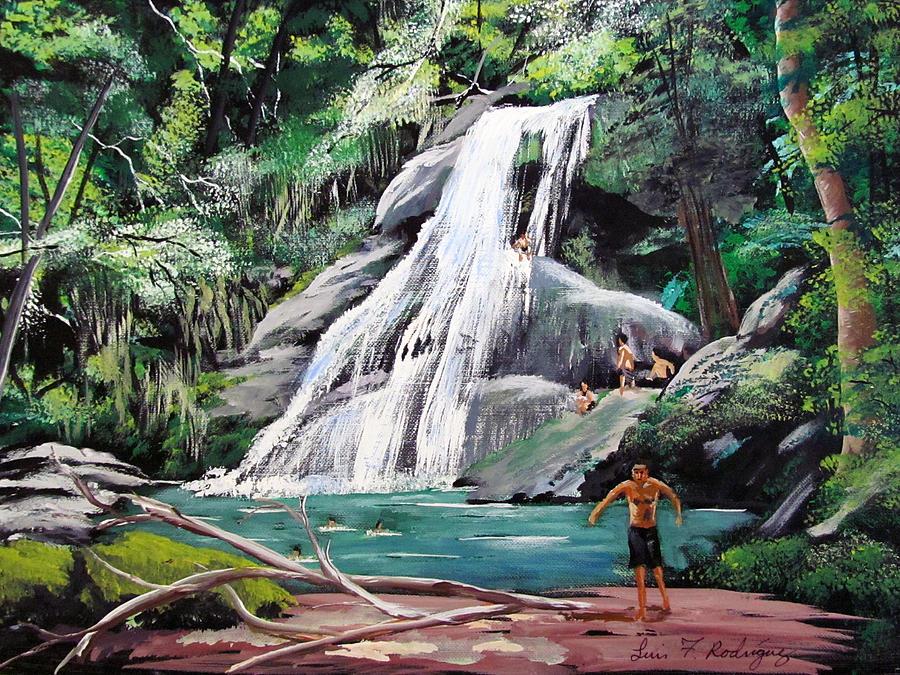 Puerto Rico Painting - San Sebastian Waterfall by Luis F Rodriguez
