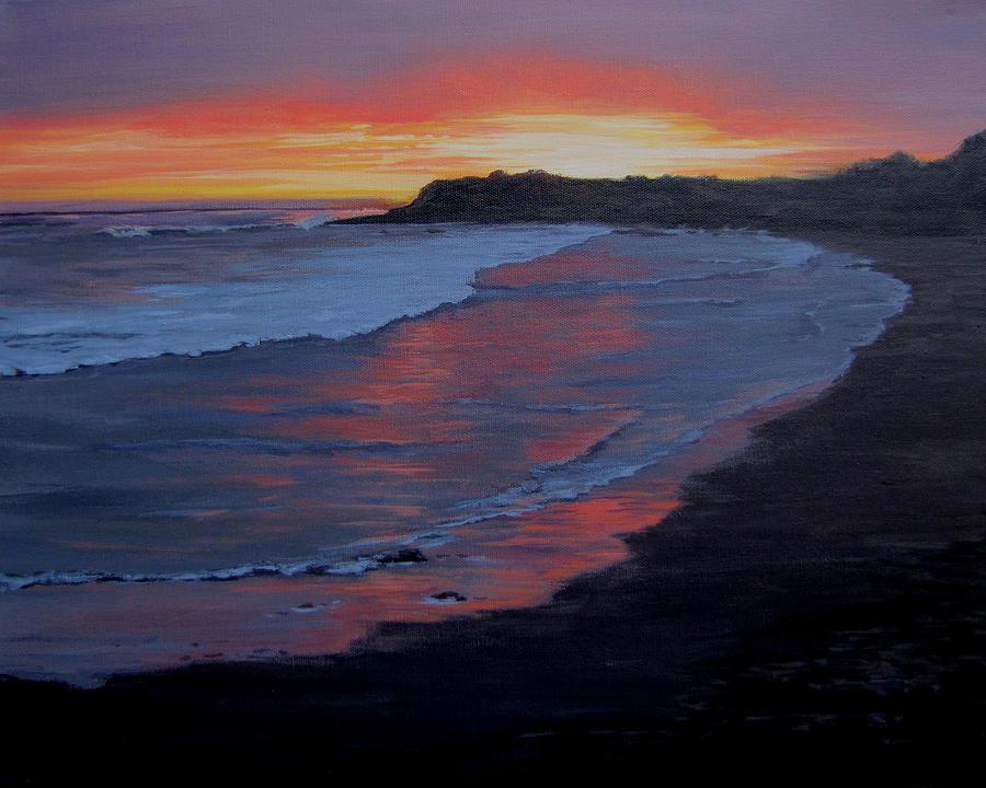 Beach Painting - San Simeon Sunset by Karen Ilari