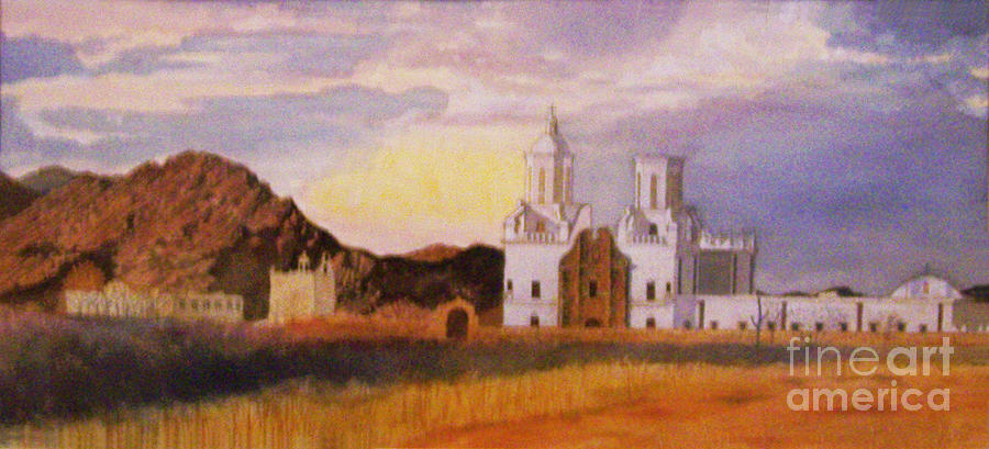 San Xavier Del Bac Mission Painting by Ron Bowles
