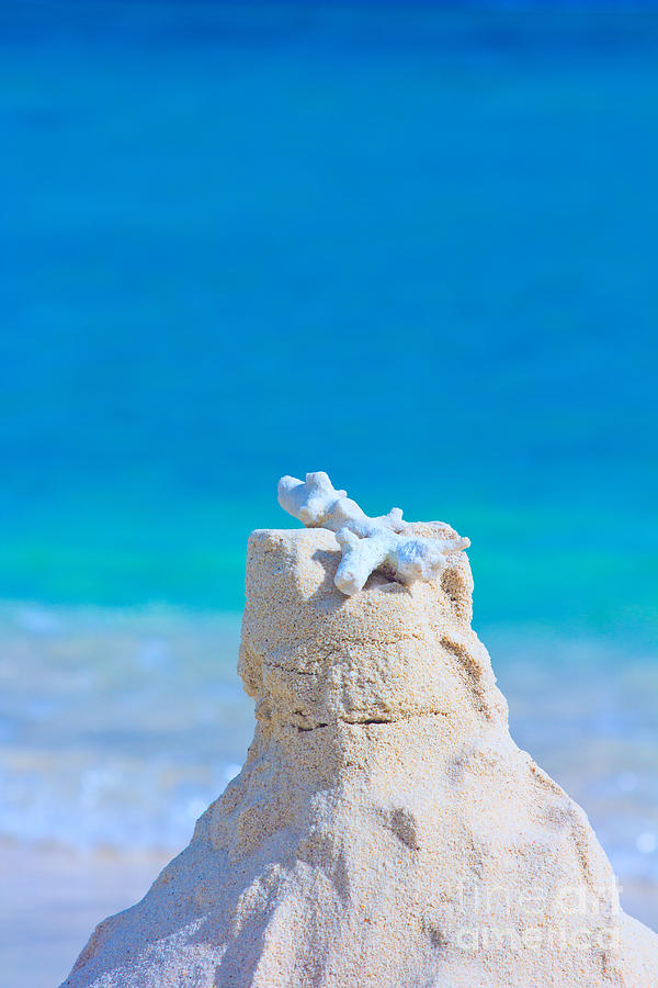 Sand Castle Photograph - Sand Castle with Coral Against Calm Turquoise Sea by Beverly Claire Kaiya
