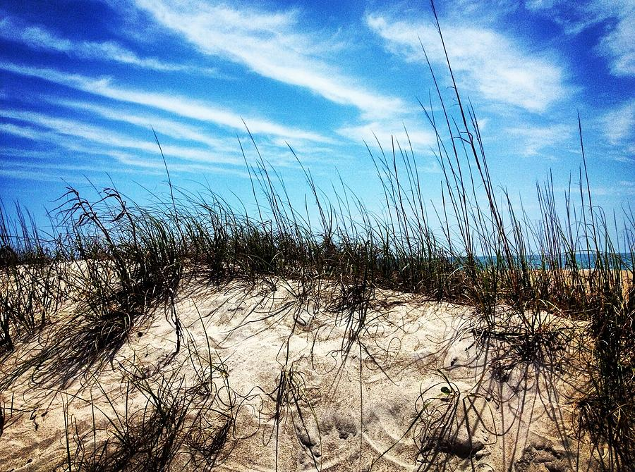 Clouds Photograph - Sand Dune At Alantic Beach by Joan Meyland