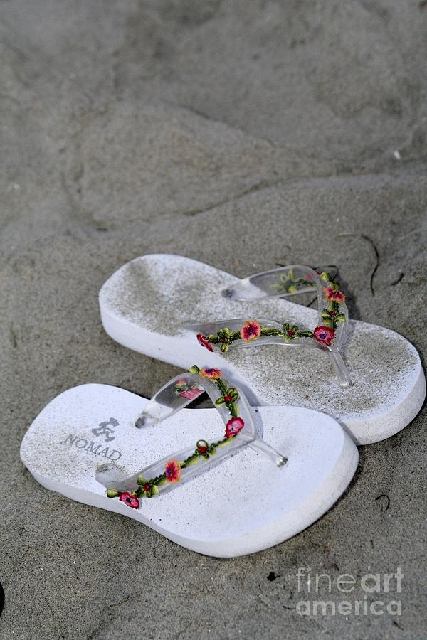 Sandal Photograph - Sandals In The Sand by Laura Paine