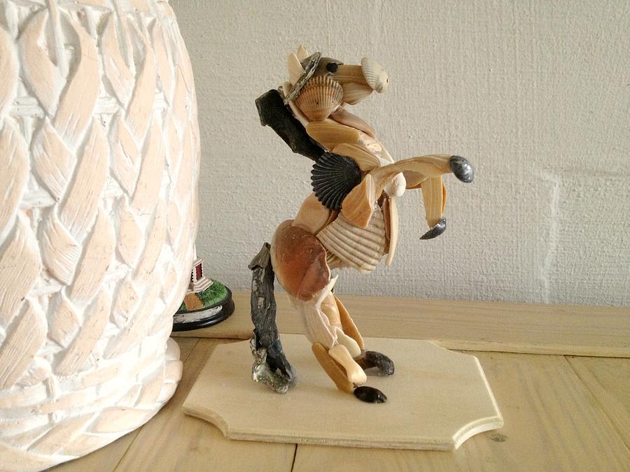 Sea Shell Rearing Horse Sculpture  Sculpture - Sandbar Wild Rearing Horse Model by Karina Alfaro