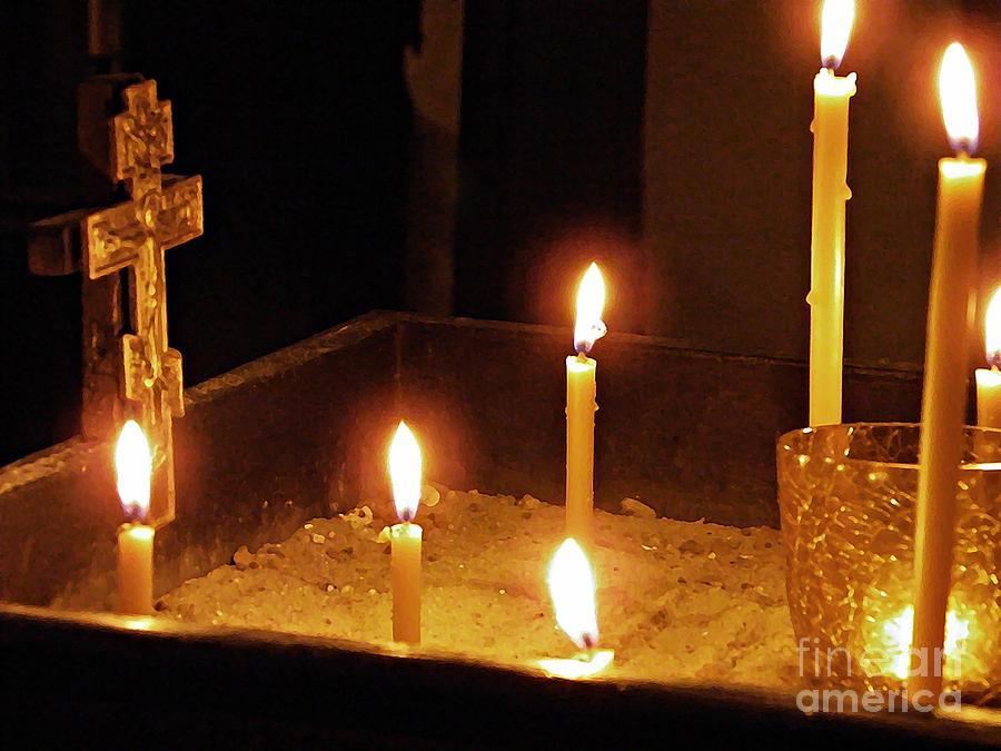 Candles Photograph - Sandbox Shrine by Sarah Loft
