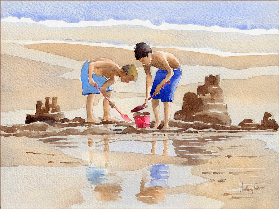 Sandcastles Painting - Sandcastles by Anthony Forster