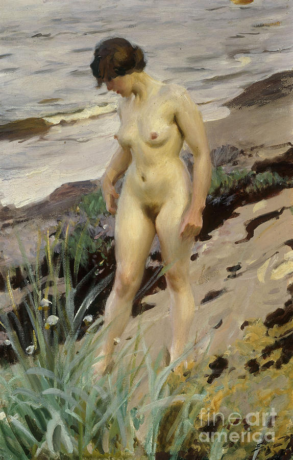 Sandhamn; Study; Female; Woman; Nude; Full Length; Standing; Nude; Naked; Walking; Sea; Coast; Coastal; Shore; Shoreline; Rocks; Rocky; Landscape; Ocean; Tide Painting - Sandhamn Study by Anders Leonard Zorn