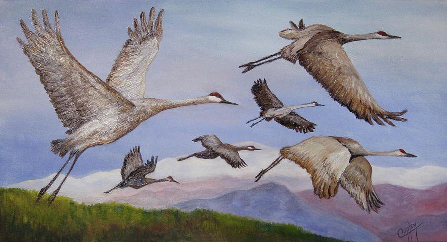 Cranes Painting - Sandhill Cranes Near Denali by Karen Copley
