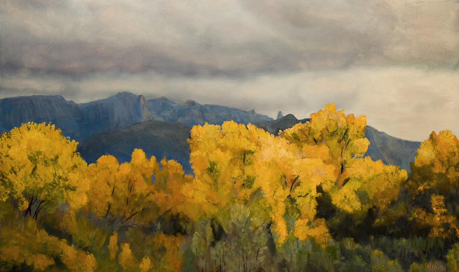 Mountains Painting - Sandias From The Bosque by Jack Atkins