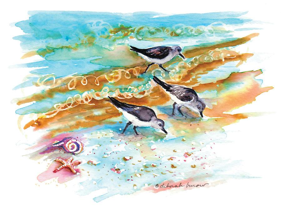 Sandpipers Painting - Sandpiper Trio by Deborah Burow