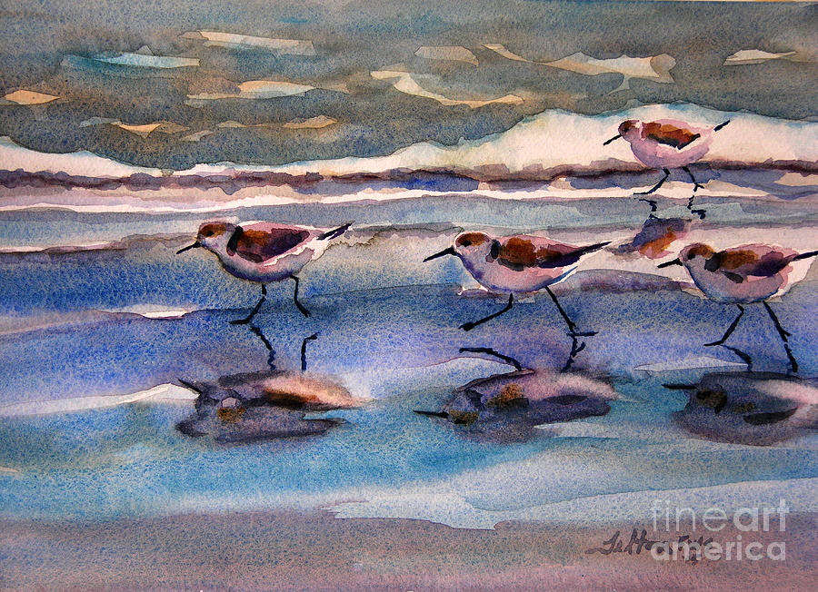 Sandpipers running in beach shade 3-10-15 by Julianne Felton