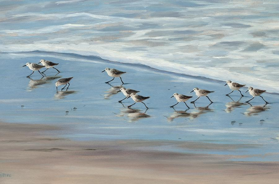 Sandpipers Painting - Sandpipers by Tina Obrien