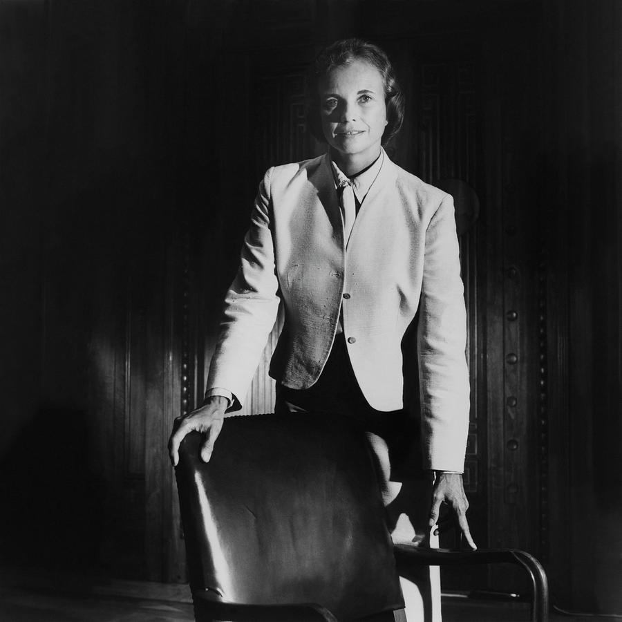 Sandra Day Oconnor Posing Beside An Office Chair Photograph by Horst P. Horst