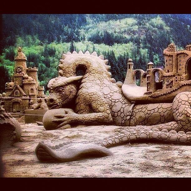 Dragon Photograph - #sandsculpture #art #dragon by Katie Ball